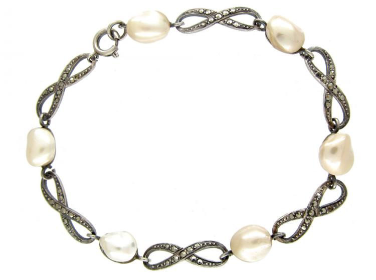 Blister Pearl, Silver & Marcasite Crossover Link Bracelet