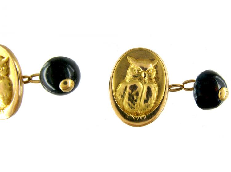 18ct Gold Owl in the Moon Cufflinks with Bloodstone Backs