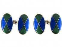 Silver & Enamel Cufflinks by Asprey