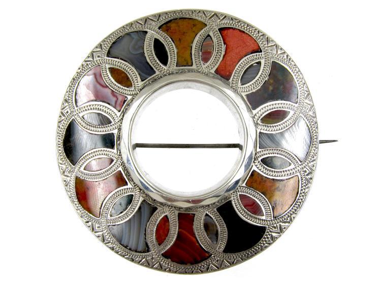 Scottish Victorian Silver & Agate Brooch