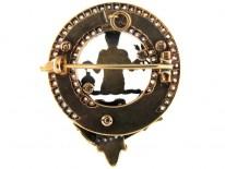 Scottish Victorian 18ct Gold & Diamond Clan Brooch for the MacFarlane Clan