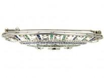 Diamond, Emerald & Sapphire Art Deco Platinum Brooch
