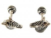 Tiffany & Co. Silver & Enamel Zebra Cufflinks