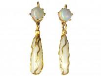 Art Nouveau Gold Opal Drop Earrings