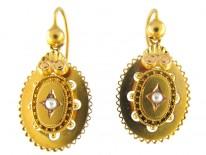 Victorian 15ct Gold Pearl Set Drop Earrings