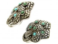 Theodor Fahrner Turquoise & Marcasite Silver Earrings