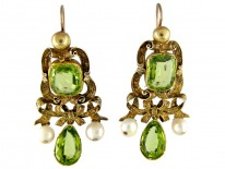 Peridot & Pearl Gold Drop Earrings