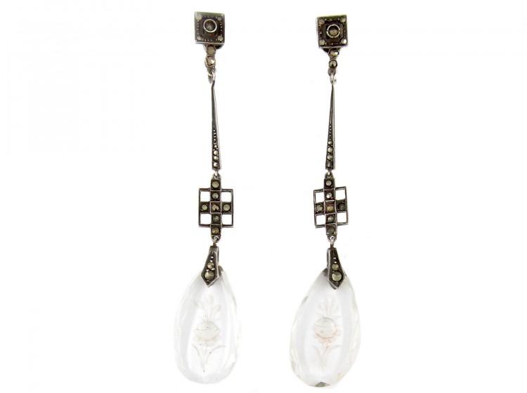 Art Deco Marcasite Long Drop Earrings
