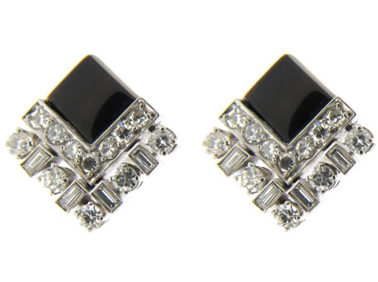 Onyx & Diamond Art Deco Earstuds