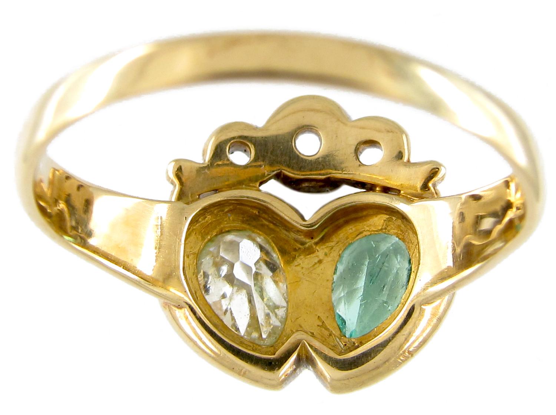 Emerald & Diamond Double Heart Ring