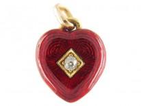 Red Enamel & Diamond Heart Charm