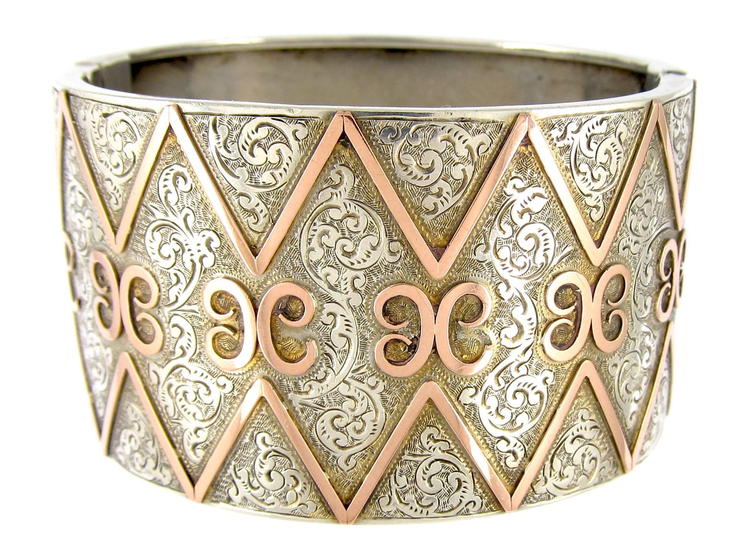Wide Silver & Gold Overlay Victorian Bangle
