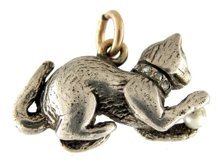 Diamond & Silver Cat Charm