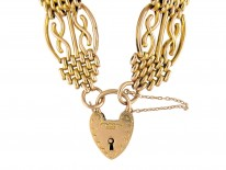 9ct Gold Wide Gate Bracelet with Padlock Clasp