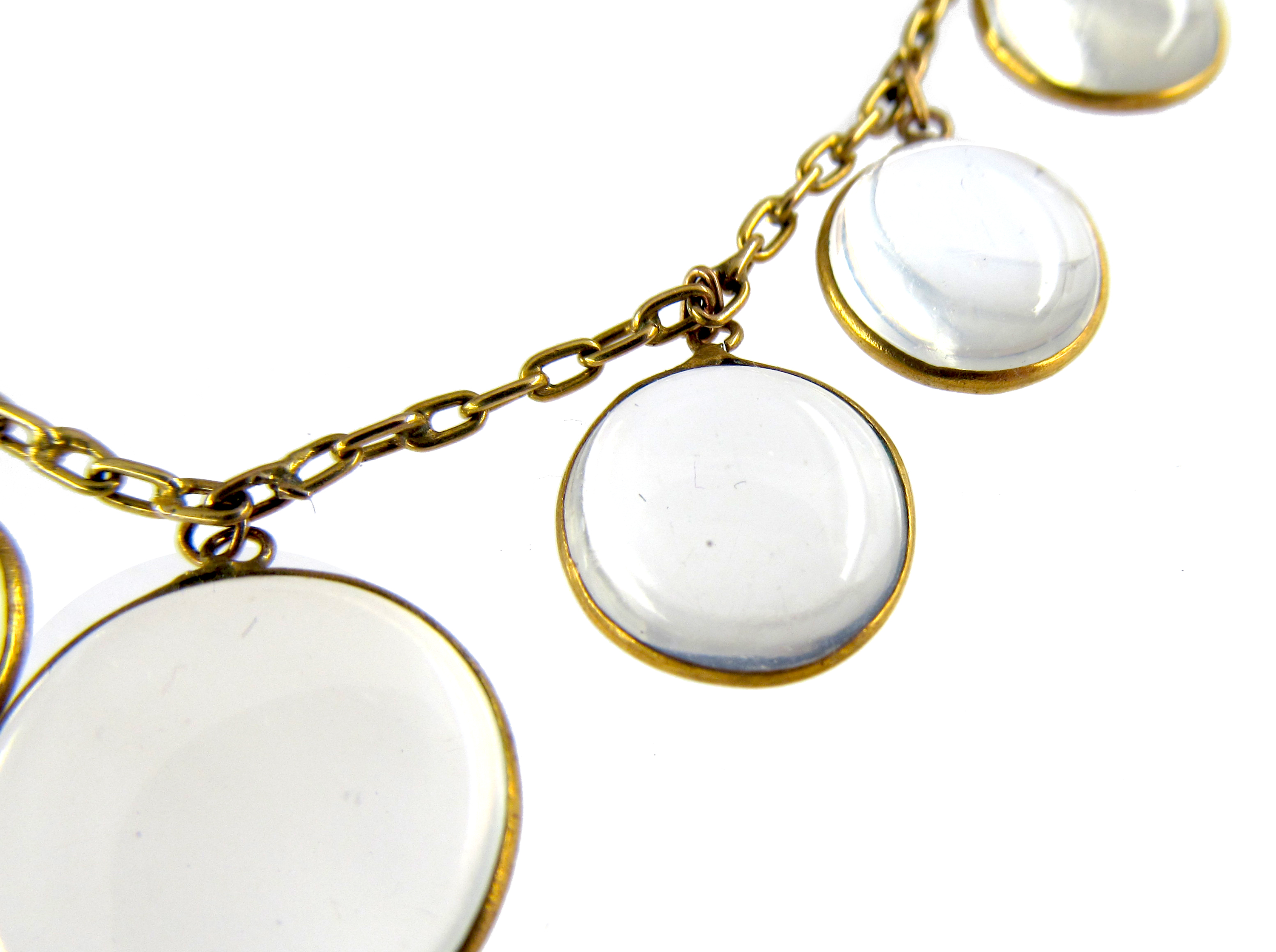 Edwardian Gold & Moonstone Round Drops Necklace
