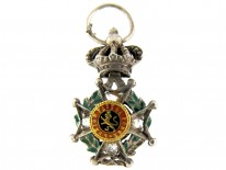 Gold Crown Top Maltese Cross Charm with Lion Motif