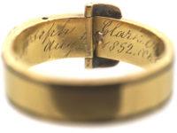 Victorian Black Enamel & Rose Diamond Buckle Ring