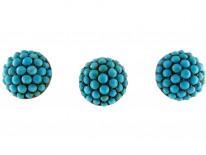 Three Gold Pavé Set Turquoise Studs in Original Case