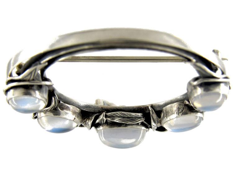 Moonstone Silver Brooch Attributed To Bernard Instone