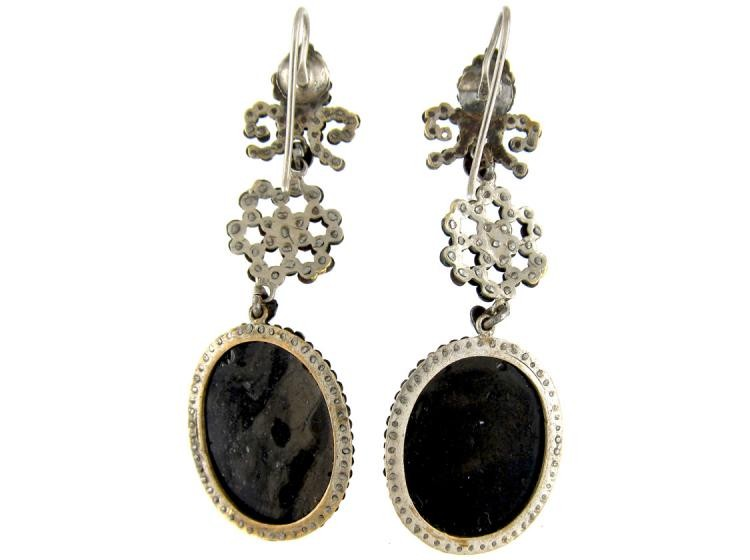 Georgian Cut Steel & Glass Cameo Earrings