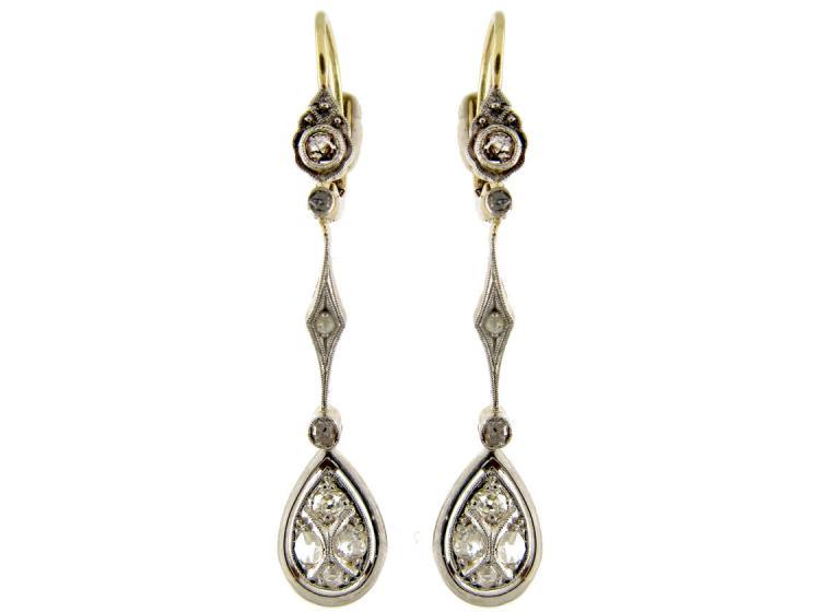 Art Deco Gold Diamond Drop Earrings