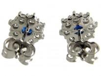 Sapphire & Diamond Cluster Earrings