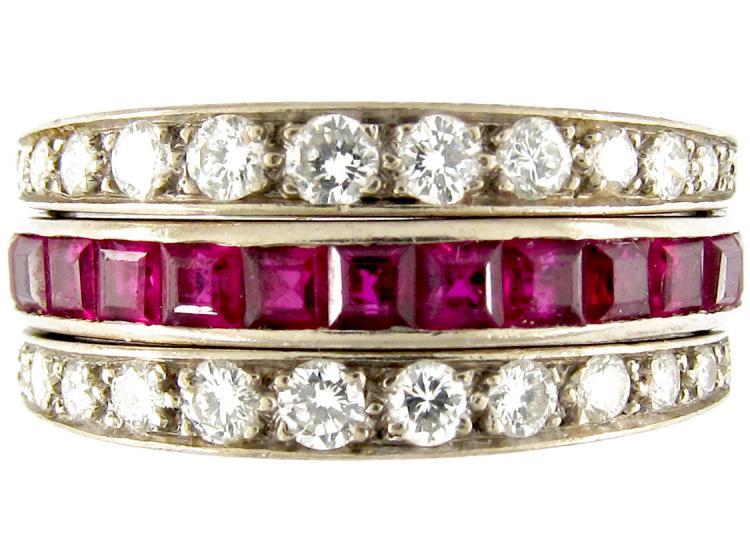 Diamond, Sapphire & Ruby Art Deco Flip-over Ring