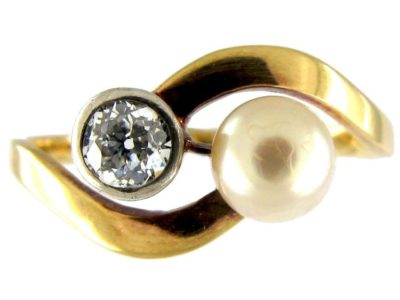 Natural Pearl & Diamond Crossover Ring