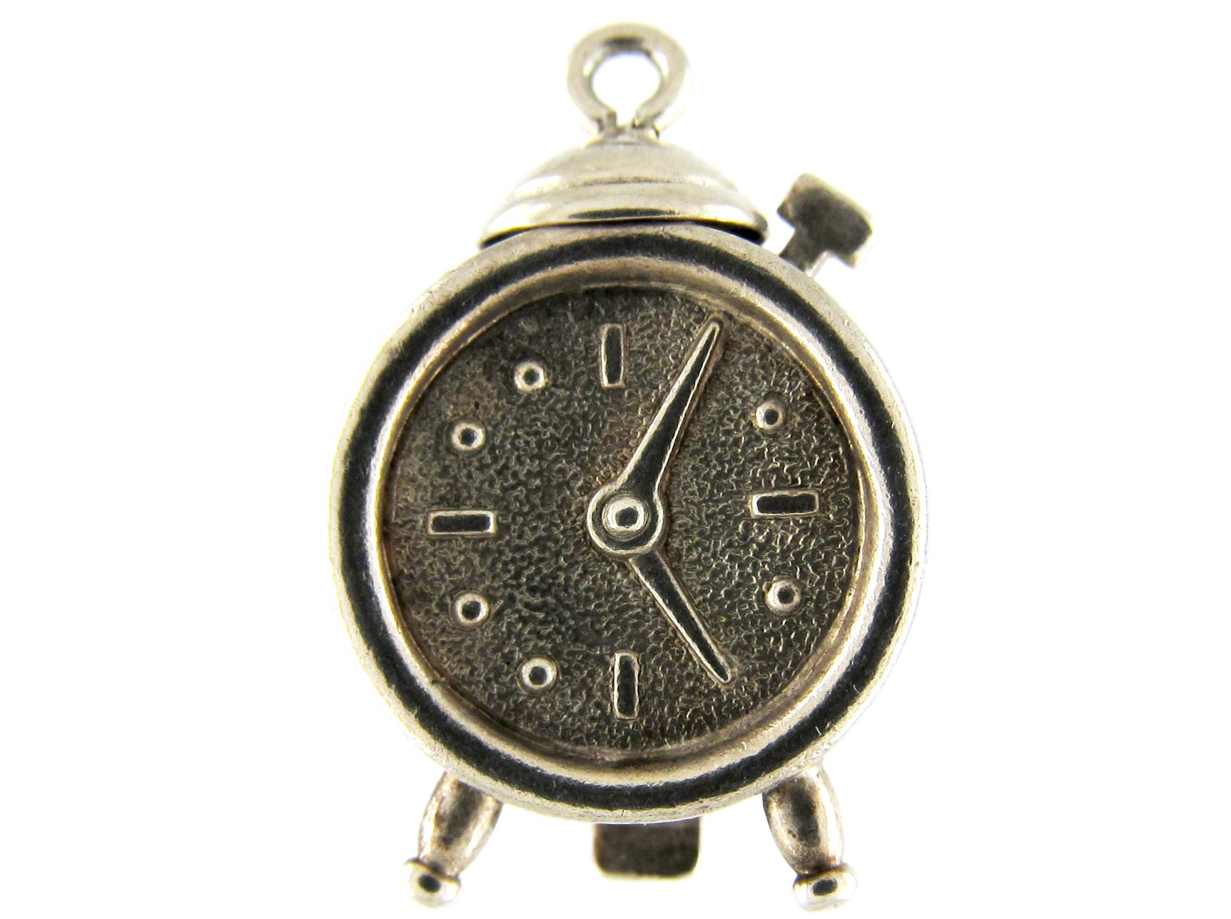 Silver Clock Charm