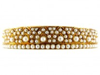 Pearl Studded 18ct Gold Victorian Bangle