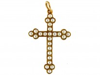 Natural Split Pearl & Gold Cross in Original Case