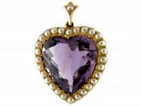 Amethyst & Pearl Gold Heart Pendant