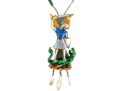 Arts & Crafts St. George & The Dragon Silver & Enamel Pendant