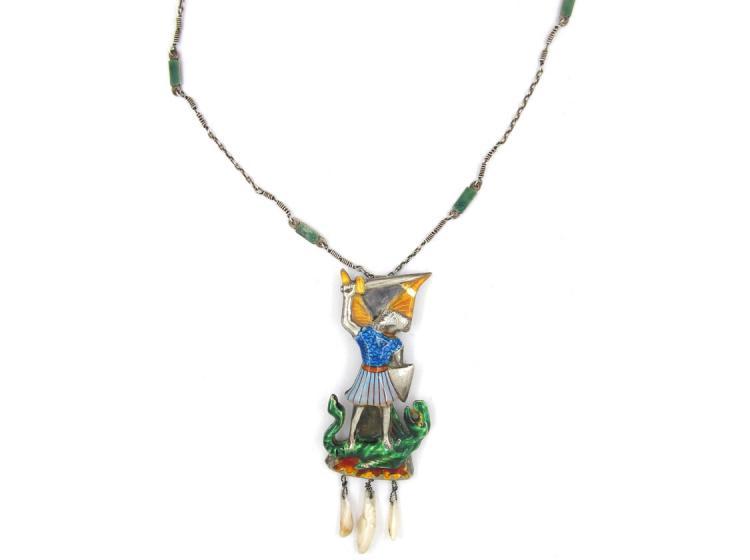 Arts & Crafts St. George & The Dragon Silver & Enamel Pendant