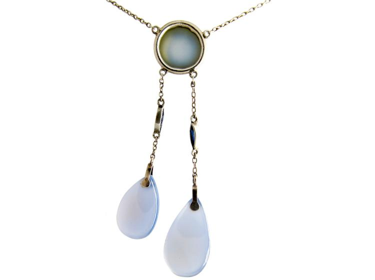 Two Drop Silver & Chalcedony Pendant on Chain