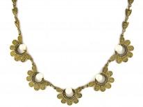 Theodor Fahrner Silver Gilt & Pearl Necklace