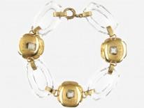 Rock Crystal & Moonstone 14ct Gold Bracelet