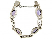 Silver, Marcasite & Amethyst Bracelet