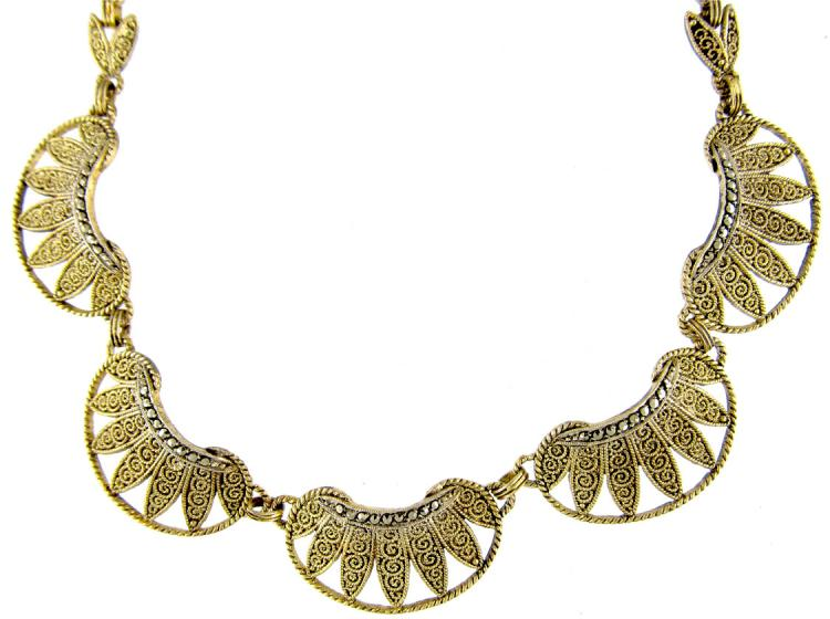 Theodor Fahrner Silver Gilt & Marcasite Necklace