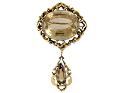 Victorian Gold & Citrine Drop Brooch