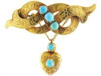 Gold & Turquoise Regency Brooch