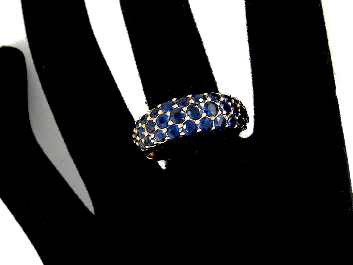 Burma Sapphire Bombe Pavé Set Gold Ring