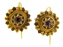 Victorian 15ct Gold & Ruby Round Earrings