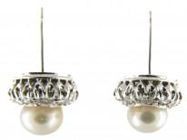 Diamond & Natural Pearl Round Earrings