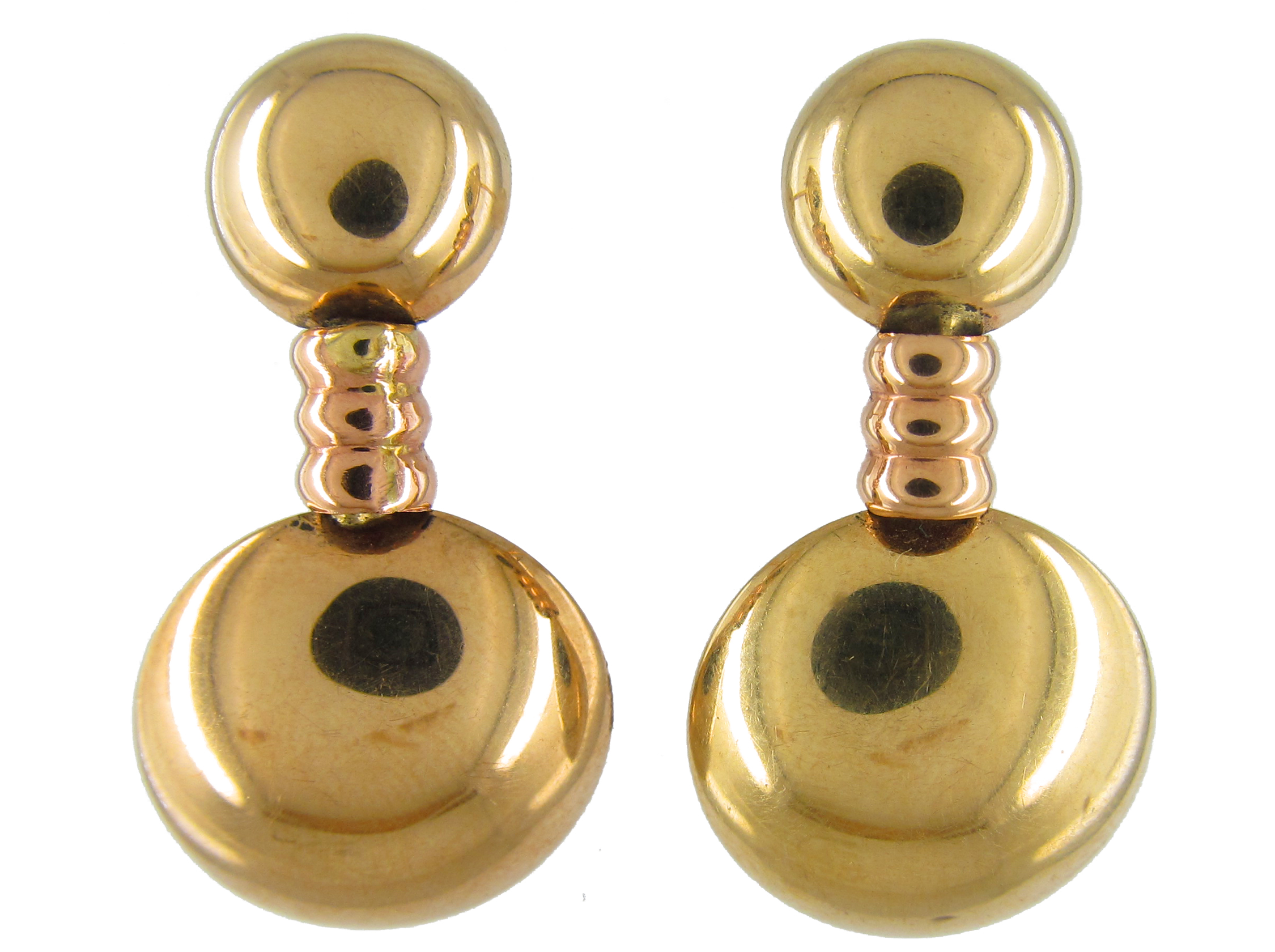 Two Colour Gold Double Disk Drop Earrings