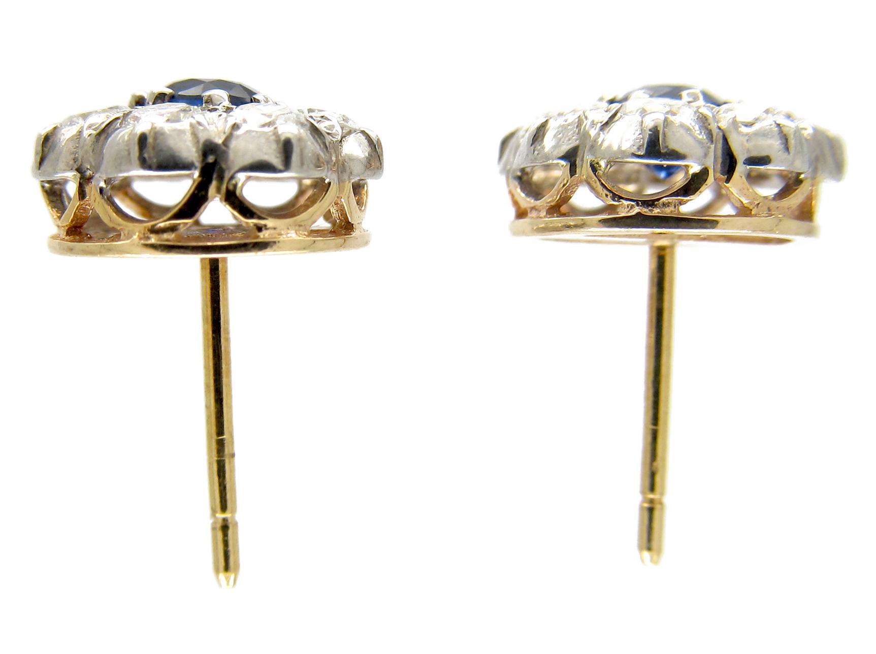 Sapphire & Diamond Cluster Earstuds