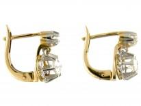 Two Stone Diamond Drop French Earrings