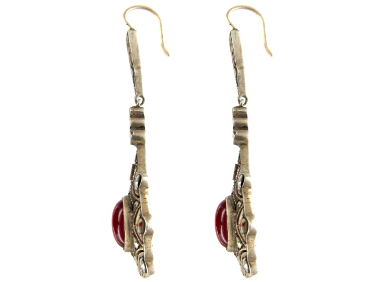Art Deco Marcasite Drop Earrings Set with Carnelian