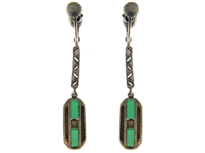 Art Deco Marcasite Drop Earrings set with Green Chalcedony