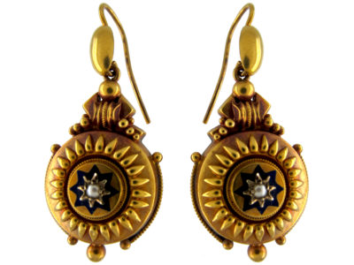 15ct Gold Victorian Drop Earrings with Star Motif